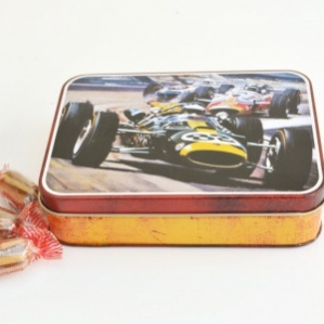 RACING CAR TIN WITH HUMBUGS